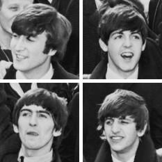 """The Beatles a fost unul dintre grupurile a cărui muzică a fost cea mai influentă pentru era rock care a urmat. Grupul a fost alcătuit din John Lennon (vocal, chitară ritmică), Paul McCartney (vocal, chitară bas), George Harrison (chitară solo) și Ringo Starr (baterie). Ei au avut ca țintă generațiile de tineri rezultate de după al Doilea Război Mondial, în Anglia, SUA, etc. Fără dubiu, """"The Beatles"""" este unul din cele mai faimoase și de succes grupuri în istoria muzicii rock, contorizând peste 1,1 miliarde de discuri vândute în lumea întreagă - in imagine, """"The Beatles"""" în 1964. În sensul acelor de ceasornic (de stânga sus): John Lennon, Paul McCartney, Ringo Starr, George Harrison - foto:  en.wikipedia.org"""