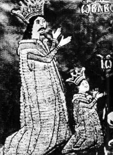 """Vlad Vintilă (domn al Țării Românești între septembrie 1532 - septembrie 1534; noiembrie 1534 - iunie 1535) apare ca fiul lui Radu cel Mare, documentele semnându-le ca """"[...]Vlad voievod fiul marelui Radu voievod[...]"""", însă, istoriografia modernă inclină a-l considera ca fiul lui Radu (Dragomir) fiul lui Vlad cel Tânăr (Vlăduț), pretendentul care s-a ridicat domn la moartea lui Neagoe Basarab împotriva lui Teodosie. În sprijinul acestei afirmații vin dovezile referitoare la baștina lui cât și la partida boierească ce o reprezenta - in imagine, Vlad Vintilă şi fiul său - foto - ro.wikipedia.org"""