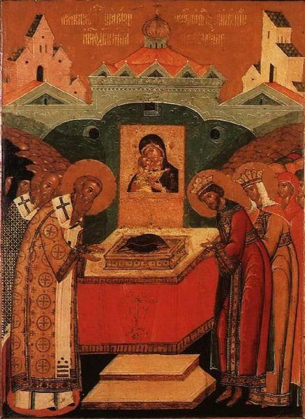 Așezarea veșmântului Născătoarei de Dumnezeu în biserica Vlaherne, Prăznuirea sa de către Biserica Ortodoxă se face la data de 2 iulie - foto: doxologia.ro
