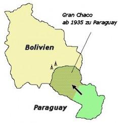 1938: Prin tratatul de pace care a pus capăt războiului dintre Bolivia și Paraguay, Bolivia a pierdut aproape o treime din teritoriul său, dar și-a păstrat domeniile sale de petrol, la poalele Anzilor, în timp ce Paraguay aproape și-a dublat teritoriul - foto - ro.wikipedia.org