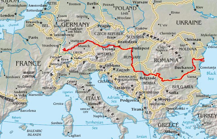 Hartă a cursului principal al Dunării - foto: ro.wikipedia.org