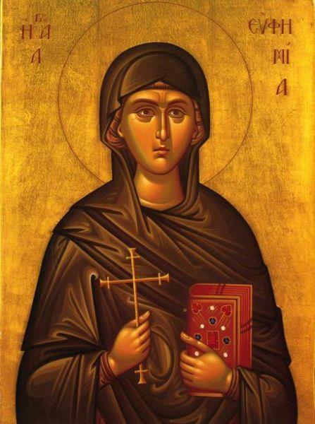 """Sfânta, slăvita, Marea Muceniță Eufimia din Calcedon, numită """"prealăudată"""" în Biserica Ortodoxă, a mucenicit pentru credința ei în Calcedon, la anul 304. Prăznuirea muceniciei ei se face pe 16 septembrie, iar pe 11 iulie se prăznuiește minunea săvârșită de ea la Sinodul de la Calcedon (451) - foto: ro.orthodoxwiki.org"""