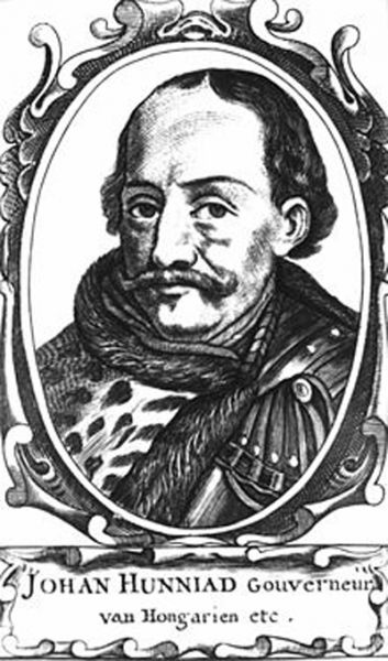 Ioan de Hunedoara (latină Ioannes Corvinus, maghiară Hunyadi János, sîrbă Janko Sibinjanin, slovacă Ján Huňadi, germană Johann Hunyadi) cunoscut și ca Iancu de Hunedoara (alternativ Ioan (Ion) Huniade sau Ioan Corvin, n. ca. 1407 - d. 11 august 1456) a fost ban al Severinului din 1438, voievod al Transilvaniei între 1441-1456 și regent al Ungariei între 1446-1452, mare comandant militar, tatăl regelui Matia Corvin - foto: en.wikipedia.org