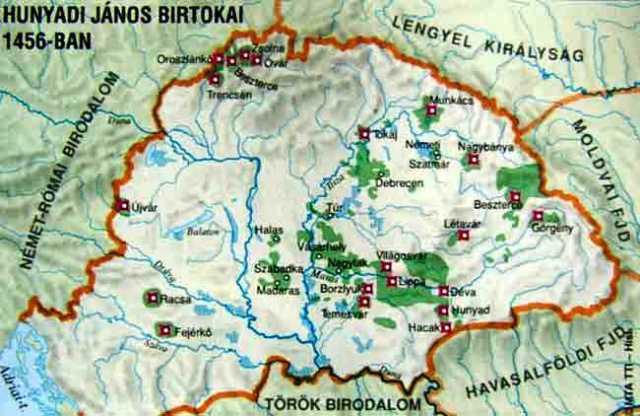 Teritorii administrate de Iancu de Hunedoara la 1456 - foto: cersipamantromanesc.wordpress.com