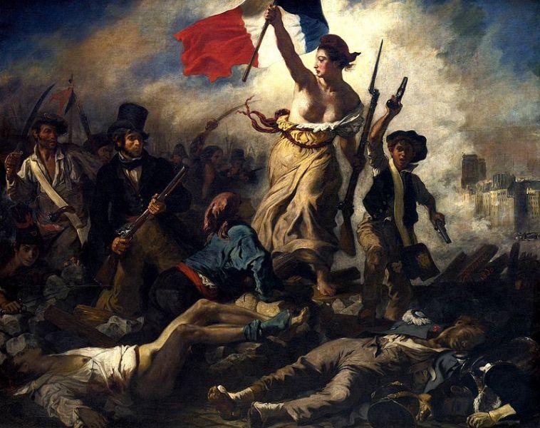 """""""Libertatea conducând poporul"""", de Eugène Delacroix - foto preluat de pe ro.wikipedia.org"""