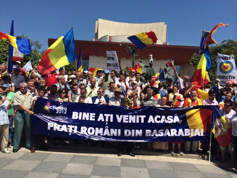 Marsul lui Stefan cel Mare,Piaţa Universităţii, manifestaţie unionistă - foto - facebook.com/Antonie Popescu