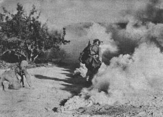 Operatiunea München - Infanterie romana ataca sub protectia unei grenade fumigene - foto - worldwar2.ro