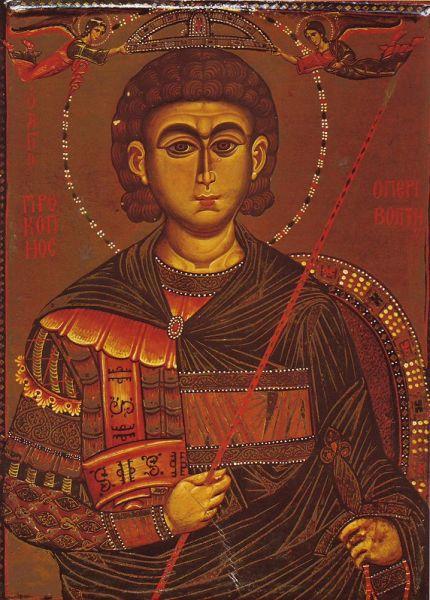 Sfântul Mare Mucenic Procopie a trăit la sfârșitul secolului III - începutul secolului IV, în cetatea Schitopolis (actuala localitate Beit She'an din Israel) din provincia romană Asia Minor (Asia Mică), dar se născuse la Ierusalim. A pătimit și a fost martirizat în timpul marii persecuții împotriva creștinilor, ordonată de împăratul Dioclețian, fiind executat în Cezareea Palestinei la 7 iulie 303. Prăznuirea sa în Biserica Ortodoxă se face la 8 iulie -  icoană din Mănăstirea Sfânta Ecaterina, Sinai - foto: doxologia.ro