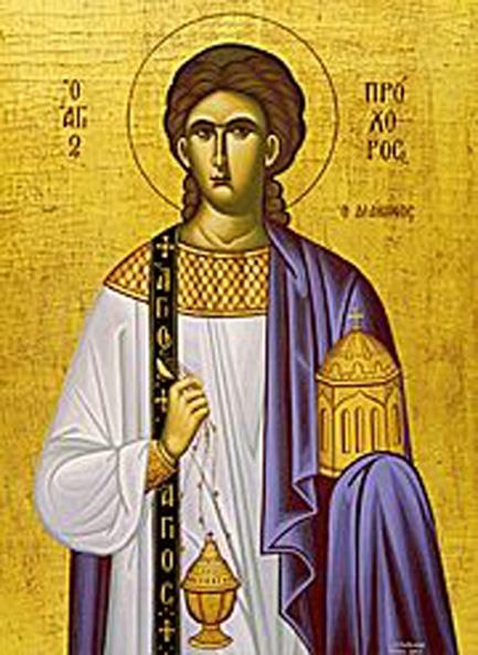 Sfântul, slăvitul şi întru tot lăudatul Apostol Prohor din Cei Şaptezeci a fost unul din primii diaconi ai Bisericii, alături de Sfinţii Ştefan, Filip, Parmena, Nicanor, Timon şi Nicolae. Cu toate că ei au murit la date diferite şi din cauze diverse, ei sunt prăznuiți împreună în Biserica Ortodoxă la 28 iulie. Sfântul Prohor mai este sărbătorit şi în 4 ianuarie împreună cu Soborul Celor Şaptezeci de Sfinţi Apostoli - foto preluat de pe ro.orthodoxwiki.org