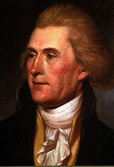 """Thomas Jefferson (n. 13 aprilie 1743 - d. 4 iulie 1826) al doilea vicepreședinte și al treilea președinte al Statelor Unite ale Americii (1801 - 1809), autor al Declarației de Independență (1776), și unul dintre cei mai influenți dintre """"părinții fondatori"""" ai Statelor Unite - foto - ro.wikipedia.org"""