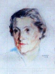 Valeria Sadoveanu (n. 22 ianuarie 1907 - d. 28 iulie 1985)  scriitoare, cea de-a doua sotie a lui Mihail Sadoveanu - in imagine, Valeria Sadoveanu (desen - Constantinescu, Ştefan) - foto: clasate.cimec.ro