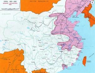 Al Doilea Război Chino-Japonez (7 iulie 1937 – 9 septembrie 1945) conflict major între Republica China și Imperiul Japonez în timpul celui de-al Doilea Război Mondial - foto (Hartă a teritoriilor aflate sub controlul japonezilor în 1940)  - ro.wikipedia.org
