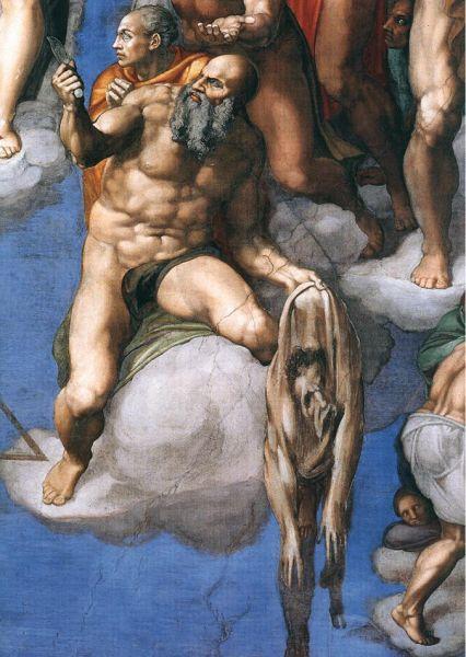 """Apostolul Bartolomeu ţinând în mână propria sa piele cu autoportretul lui Michelangelo (Capela Sixtină, fresca """"Judecata de Apoi"""") - foto: ro.wikipedia.org"""