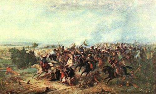 """""""Izgonirea turcilor la Calugareni"""" (13/23 august 1595) Pictură de Theodor Aman - foto preluat de pe ro.wikipedia.org"""