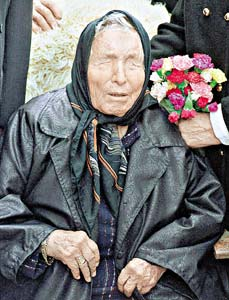 Vanga (n. 31 ianuarie 1911 – d. 11 august 1996), născută Vanghelia Pandeva Dimitrova, după căsătorie Vanghelia Gușterova, prezicătoare oarbă bulgară, vindecătoare cu plante, care și-a petrecut cea mai mare din viața sa în zona Rupite în munții Kozhuh, Bulgaria. Adepții ei au fost convinși că ea posedă abilități paranormale - foto - ro.wikipedia.org