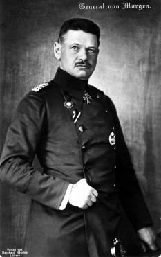 Curt von Morgen (n. 1 noiembrie 1858, Nysa, Prusia – d. 15 februarie 1928, Lübeck) unul dintre generalii armatei Germaniei din Primul Război Mondial. A îndeplinit funcțiile de comandant al Corpului I Rezervă și Corpului XIV Rezervă. A îndeplinit funcția de comandant al Corpului I Rezervă în campania acestuia din România, din anii 1916-1917 - foto - ro.wikipedia.org