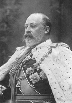 Eduard al VII-lea (n. Albert Edward, la 9 noiembrie 1841 - 6 mai 1910) rege al Regatului Unit și al dominioanelor britanice și împărat al Indiei de la 22 ianuarie 1901, până la moartea sa, la 6 mai 1910 - foto (Portret la încoronare) - ro.wikipedia.org