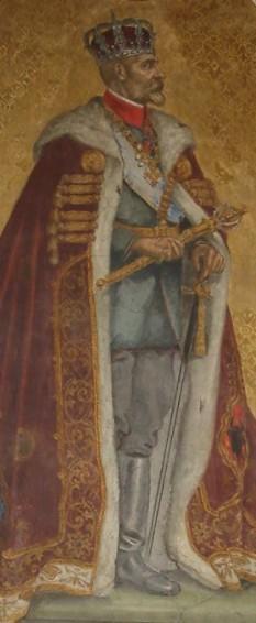 Pictură reprezentându-l pe regele Ferdinand I al României, aflată în Catedrala din Alba Iulia - foto - ro.wikipedia.org
