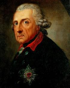"""Frederic al II-lea, cel Mare (germană Friedrich II.; n. 24 ianuarie 1712, Berlin - d. 17 august 1786, Potsdam) rege al Prusiei (1740-1786), din dinastia de Hohenzollern, al 14-lea prinț elector al Sfântului Imperiu Roman sub numele de Frederick IV (Friedrich IV.) de Brandenburg. A devenit cunoscut sub numele de Frederic cel Mare (Friedrich der Große) și a fost poreclit Der Alte Fritz (""""Bătrânul Fritz"""") - in imagine, Frederick al II-lea la vârsta de 68 de ani, de Anton Graff - foto: ro.wikipedia.org"""