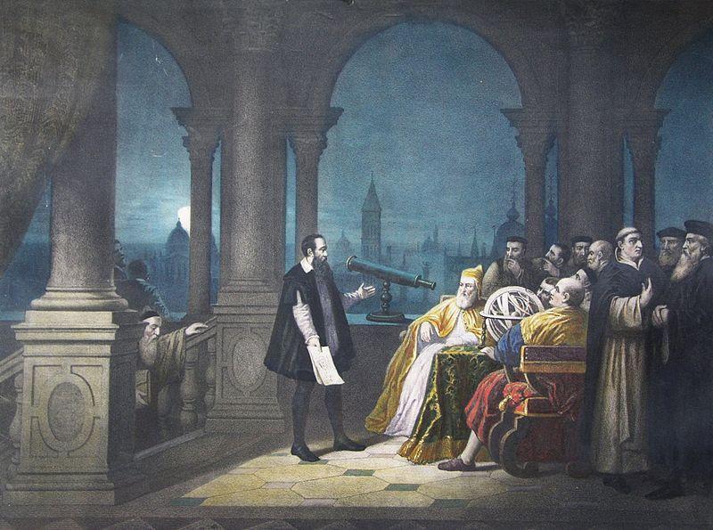 Pictură din secolul al XIX-lea reprezentând pe Galileo Galilei prezentând telescopul său lui Leonardo Donato în 1609 - foto preluat de pe ro.wikipedia.org