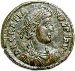 Flavius Gratianus Augustus (n. Sirmium, la 18 aprilie/23 mai, 359 - d. Lugdunum, la 25 august, 383) cunoscut sub numele de Grațian a fost împărat în vest (375 - 383) și în est (378 - 379) - foto - ro.wikipedia.org