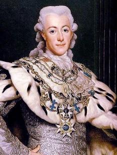 Gustav al III-lea (n. 24 ianuarie 1746 – d. 29 martie 1792) a fost rege al Suediei din 1771 până la moartea sa în anul 1792. A fost fiul cel mare al regelui Adolf Frederick al Suediei și al reginei Louisa Ulrika a Prusiei, sora lui Frederick cel Mare. În 1766 s-a căsătorit cu Sophia Magdalena a Danemarcei, fiica lui Frederic al V-lea al Danemarcei. Gustav al III-lea a avut doi copii: Gustav IV Adolf rege al Suediei și Carl Gustav duce de Småland mort în 1783 la vârsta de un an, in imagine,Gustav III picură de Alexander Roslin, 1777  - foto - ro.wikipedia.org