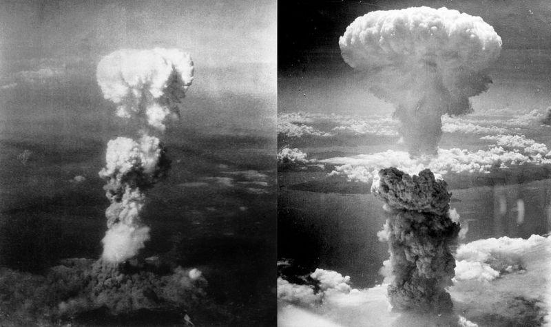 stanga - Norul ciupercă provocat de explozia aruncării primei bombe atomice, Little Boy, deasupra orașului Hiroshima; dreapta - Norul ciupercă provocat de explozia aruncării celei de-a doua bombe atomice, [The] Fat Man, deasupra orașului Nagasaki s-a ridicat la 18 km (sau 11 mi = 60,000 ft) în atmosferă deasupra hipocentrului foto preluat de pe en.wikipedia.org