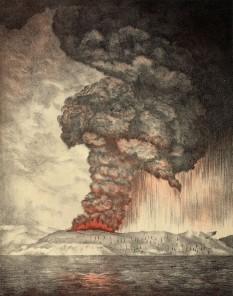 Krakatau (sau Krakatoa) este unul dintre cei mai renumiți vulcani ai lumii și cel mai destructiv din istoria omenirii după erupția din 1883. Este situat în Indonezia, în strâmtoarea Sunda, la 49 de km de coasta de vest a insulei Java și la 40 de km de insula Sumatra - foto - ro.wikipedia.org