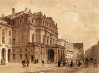 La Scala - A nineteenth-century depiction of the Teatro alla Scala - foto - en.wikipedia.org