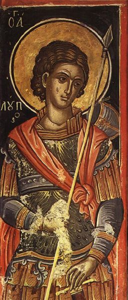 """Sfântul Mucenic Lup a trăit în cetatea Novae, de lângă Dunărea de Jos (astăzi Siștov), în secolele III–IV, ca sclav, și din această pricină era împilat de nedreptățile celor bogați și puternici. Avea însă nădejdea că Dumnezeu își va ține făgăduințele sale, și anume """"Fericiți cei săraci cu duhul, că a lor este împărăția cerurilor."""" (Luca 6, 20). Ca membru al clasei sclavilor, și conform legiuirilor romane din acea vreme, Sfântul Mucenic nu se bucura de protecția legilor, nu avea nici un drept și era apăsat de munci grele și de lipsuri. Din această stare de asuprire și umilință, Sf. Mc. Lup a fost ridicat de Hristos, prietenul celor năpăstuiți, la adevărata libertate, fericire și bucurie. Astfel, din întunericul robiei și al apăsărilor lumești, Sf. Mc. Lup a fost ridicat la fericirea și lumina cea pururi fiitoare, unde se roagă neîncetat pentru cei obidiți, ca și pentru mântuirea tuturor. A ajuns aici prin jertfa sa cea mucenicească, fiind străpuns de ascuțișul sabiei păgânești, datorită credinței sale creștine, în data de 23 august, anul 304. Cinstirea lui s-a făcut mereu în cetatea Novae și împrejurimi cu multă evlavie de către populația creștină daco-romană, la sărbătoarea lui luând parte și creștinii din clasele de jos, dar și cei din clasele conducătoare. Astfel se face că pe la sfârșitul secolului al VI-lea, prințul Petru, fratele împăratului bizantin Mauriciu, a vizitat cetatea Novae, chiar în ziua prăznuirii Sf. Mc. Lup, acest fapt fiind consemnat de documentele vremii - foto: doxologia.ro"""