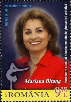Maria Bitang (mai cunoscută cu numele de Mariana Bitang) (n. 3 august 1962, Râmnicu Sărat) renumită antrenoare federală de gimnastică a României, actualmente ocupând postul de Consilier de stat pentru promovarea sportului - foto - ro.wikipedia.org