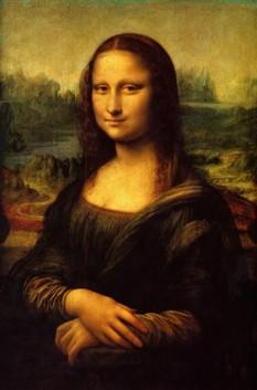Gioconda sau Mona Lisa, pictură celebră a lui Leonardo da Vinci, realizată în anii 1503-1506, reprezentând o femeie cu expresie gânditoare și un surâs abia schițat. Mona este prescurtarea cuvântului Madonna (Doamna)  foto - wikiart.org