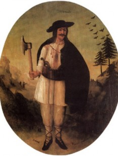 Oleksa Dovbush (Ukrainian: Олекса Довбуш) (born 1700, Pechenizhyn Kolomyia— died 24 August 1745) was a famous Ukrainian outlaw, leader of opryshky,[1] who became a folk hero, often compared to Robin Hood - foto - en.wikipedia.org