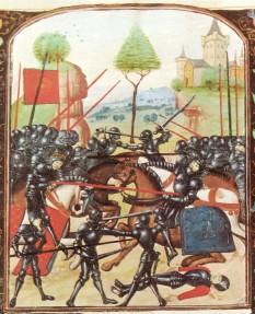 Războiul celor Două Roze (1455–1485) este numele sub care mai este cunoscut războiul civil purtat cu intermitență pentru tronul Angliei între susținătorii Casei de Lancaster și cei ai Casei de York - foto ( Ilustrație a bǎtaliei de la Barnet, Războiului celor Două Roze): ro.wikipedia.org