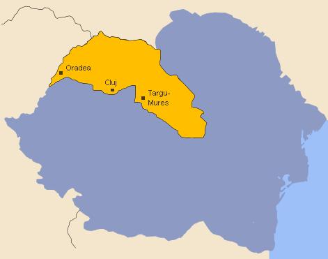 Harta României interbelice: în galben este marcată porțiunea cedată Ungariei în urma Dictatului de la Viena - foto preluat de pe- ro.wikipedia.org