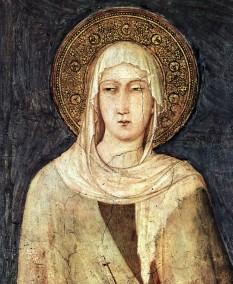 Sfânta Clara (1193-1253) din Assisi, Umbria, Italia centrală, a fost întemeietoarea ordinului Clariselor - foto - Frescă Clara von Assisi de Simone Martini în capela Bazilica San Francesco din Assisi (secolul al XIV-lea) - ro.wikipedia.org