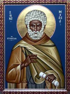 Sfântul Cuvios Moise Etiopianul.  Prăznuirea sa de către Biserica Ortodoxă se face la data de 28 august - foto: calendar-ortodox.ro