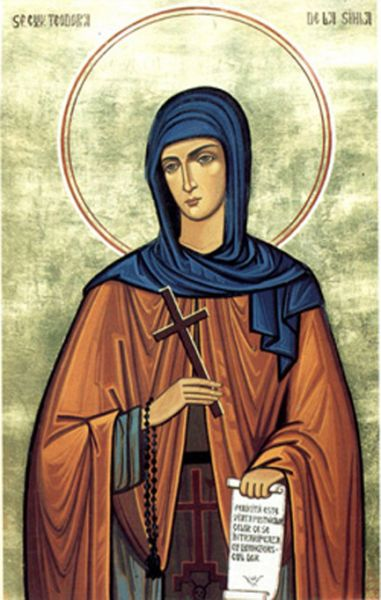 Sfânta Cuvioasă Teodora de la Sihla a trăit în Moldova secolului al XVII-lea, nevoindu-se în viața călugărească cea mai mare parte a vieții sale. Este cea dintâi româncă trecută în rândul sfinților. Biserica Ortodoxă Română o prăznuiește pe data de 7 august - foto preluat de pe ro.orthodoxwiki.org