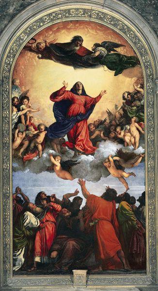 "Tiziano Vecellio: ""Înălţarea la cer a Fecioarei"", 1516-1518 - Biserica Santa Maria Gloriosa dei Frari, Veneția - foto: ro.wikipedia.org"