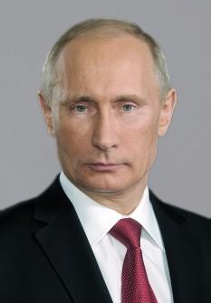 Vladimir Vladimirovici Putin (n. 7 octombrie 1952, Leningrad, URSS, astăzi Sankt Petersburg, Rusia) om politic rus. Al 2-lea și al 4-lea Președinte al Rusiei. În prezent ocupă pentru a treia oara funcția de președinte al Federației Ruse -  foto - ro.wikipedia.org