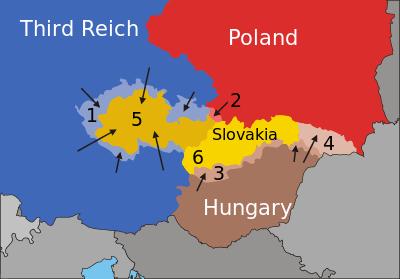 Succesiunea evenimentelor care au urmat Acordului de la München: 1. Germania ocupă Regiunea Sudetă (octombrie 1938). 2. Polonia anexează regiunea Zaolzie, o zonă cu majoritatea populației de origine poloneză ocupată de armata cehă în perioada 1918-1920 (octombrie 1938). 3. Ungaria ocupă regiunile de graniță (treimea sudică a Slovaciei) și sudul Regiunea Transcarpatia cu populație majoritară maghiară, conform Primului arbitraj de la Viena (noiembrie 1938). 4. În martie 1939, Ungaria anexează Regiunea Transcarpatia, cu populație minoritară maghiară (care a devenit autonomă din octombrie 1938). 5. Teritoriul ceh rămas devine satelitul german numit Protectoratul Boemiei și Moraviei. 6. Ce a mai rămas din Cehoslovacia devine Republica Slovacă, un alt satelit german - foto: ro.wikipedia.org