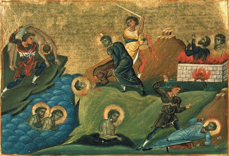 Mucenicia Sf. Antim de Nicomidia (Menologhionul lui Vasile al II-lea, Constantinopol, cca. 1000 d.Hr.) - foto: ro.orthodoxwiki.org