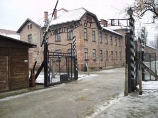 Lagărul de concentrare Auschwitz, cunoscut drept cel mai mare lagăr de exterminare nazist, Auschwitz a devenit locul emblematic de implementare a soluţiei finale, un element major în punerea în practică a Holocaustului; se estimează că cel puţin 1,1 milioane de persoane au fost omorâte acolo, din care peste 90% au fost evrei - foto - ro.wikipedia.org