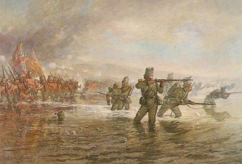 """""""Bătălia de la Alma"""" (20 septembrie 1854) - Parte a Războiului Crimeii - Batalionul al doilea de pușcași traversând râul Alma - foto: ro.wikipedia.org"""
