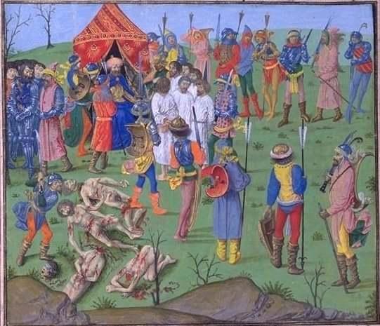Bătălia de la Nicopole (25 septembrie 1396) Executarea prizonierilor cruciați ca răzbunare pentru uciderea prizonierilor turci de la Rahova - foto preluat de pe ro.wikipedia.org