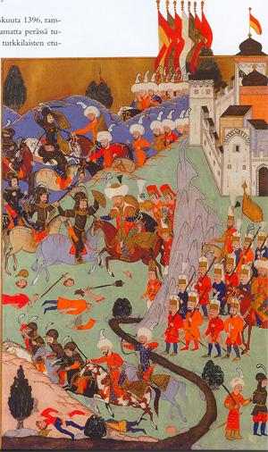 Bătălia de la Nicopole - (25 septembrie 1396) Parte din Războaiele otomane din Europa - The Battle of Nicopolis, as depicted by a Turkish miniaturist in 1588 - foto preluat de pe en.wikipedia.org