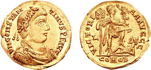 Flavius Claudius Constantinus (n. ? - d. 18 septembrie 411), cunoscut și sub denumirea de Constantin al III-lea, general roman care s-a autodeclarat împărat al Imperiului Roman de Apus în Britania în anul 407 - foto: ro.wikipedia.org