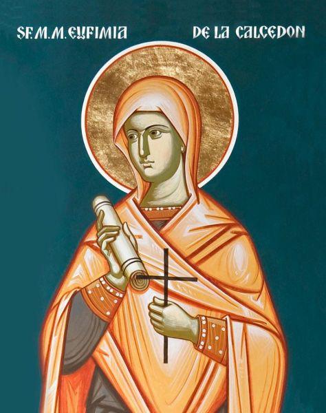 """Sfânta, slăvita, Marea Muceniță Eufimia din Calcedon, numită """"prealăudată"""" în Biserica Ortodoxă, a mucenicit pentru credința ei în Calcedon, la anul 304. Prăznuirea muceniciei ei se face pe 16 septembrie, iar pe 11 iulie se prăznuiește minunea săvârșită de ea la Sinodul de la Calcedon (451) - foto: .doxologia.ro"""
