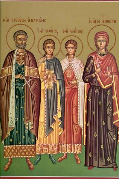 Sfântul Mare Mucenic Eustatie, cu cei doi fii: Agapie și Teopist, și Sfânta Muceniţă Teopista, soţia Sfântului Mucenic Eustatie. Prăznuirea lor de către Biserica Ortodoxă se face la data de 20 septembrie - foto: doxologia.ro