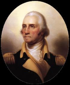 George Washington (n. 22 februarie 1732, Westmoreland, Virginia Virginia — d. 14 decembrie 1799, Mount Vernon, Virginia) general și om de stat american, militant și factor activ în obținerea independenței față de Regatul Unit a coloniilor din America de Nord, primul președinte al Statelor Unite ale Americii  foto: ro.wikipedia.org